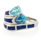 Double Stone Blue Topaz Opal Ring