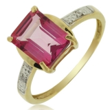 10K Yellow Gold Natural Pink Topaz Ring