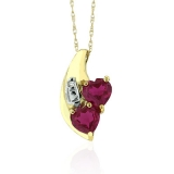 10K Yellow Gold Ruby Heart Pendant Necklace