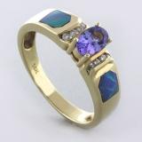 Genuine Australian Opal and Tanzanite 14 Karat Gold Ring with Diamonds