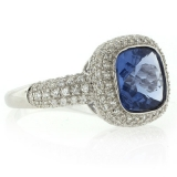 Micro Pave Changing Color Stone Alexandrite Silver Ring