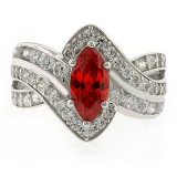 Marquise Cut Fire Opal Ring