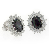 Princess Settings Mystic Topaz Costume Silver Earrings