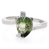 Pear Cut Tourmaline Gemstone Silver Engagement Ring