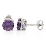 Alexandrite Round Cut Stud Earrings Purple to Pink