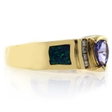 High Quality Australian Blue Opal Tanzanite Gold Ring
