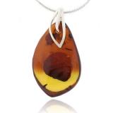 Genuine Amber Silver Pendant Jewelry