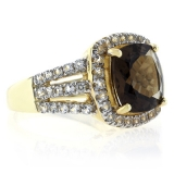 Genuine Cushion Cut Smoky Topaz Sterling Silver Ring