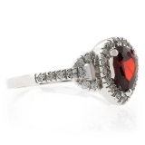 Sterling Silver Pear Cut Red Garnet Ring