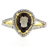 Pear Cut Genuine Smoky Topaz Sterling Silver Ring