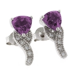 Bluish to Purple Color Change Post Back Silver Earrings