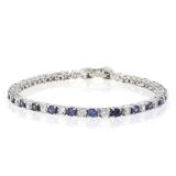 Tanzanite Simulated Diamonds Sterling Silver Tennis Bracelet