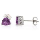 Alexandrite Trillion Cut Stud Earrings Purple to Pink