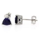 Sapphire Trillion Cut Stud Earrings