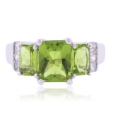 3 Stone Peridot Sterling Silver Ring