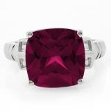 Ruby Cushion Cut Silver Ring