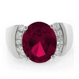Oval Cut Red Ruby Sterling Silver Ring