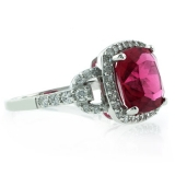 Cushion Cut Tourmaline Sterling Silver Ring