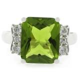 Sterling Silver Emerald Cut Big Peridot Ring