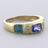Black Australian Opal Tanzanite Gold Ring