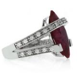 Marquise Cut Ruby Silver Big Heavy Ring
