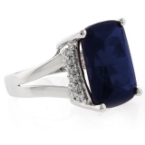 Very Big Sapphire Silver Ring