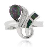 Pear Cut Mystic Topaz Opal Ring