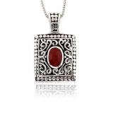 Vintage Red Coral Sterling Silver Pendant