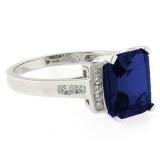 Emerald Cut Sapphire Silver Ring