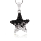 Star Black and White Swarovski Silver Pendant