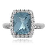 Aquamarine Emerald Cut Sterling Silver Ring