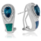 Australian Opal With Alexandrite Pear Cut Silver Earrings