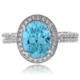 Big Oval Cut Blue Topaz Silver Ring