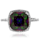 Cushion Cut Mystic Topaz Sterling Silver Ring
