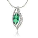 Marquise Cut Emerald Charm MicroPave Sterling Silver Pendant