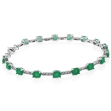 Emerald Oval Cut Sterling Silver Bracelet