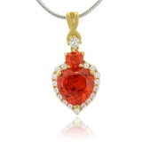 Heart Shape Fire Opal Gold Plated Sterling Silver Pendant