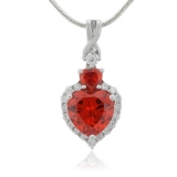 Heart Cut Fire Opal Sterling Silver Pendant