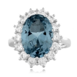 Aquamarine Princess Kate Style Silver Ring