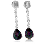 Mystic Topaz Dangling Silver Earrings