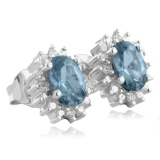 Aquamarine Oval Cut Framed Silver Earrings