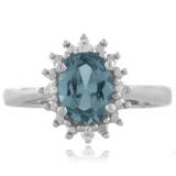 Blue Aquamarine Princess Kate Style Ring