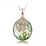 Oval Green Swarovski Elements 18K Yellow Gold Plated Necklace
