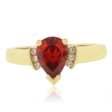 Elegant Fire Opal Promise Silver Gold Plated Ring