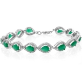 Pear Cut Emerald Sterling Silver Bracelet