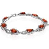 Pear Cut Fire Opal Silver Bracelet