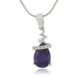 Drop Shape Sapphire Sterling Silver Necklace