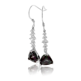 Silver Drop Earrings Trillion Cut Mystic Topaz