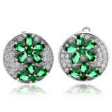 Sterling Silver Micro Pave Emerald Earrings