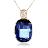 Swarovski Elements Beautiful Blue 18K Yellow Gold Plated Necklace